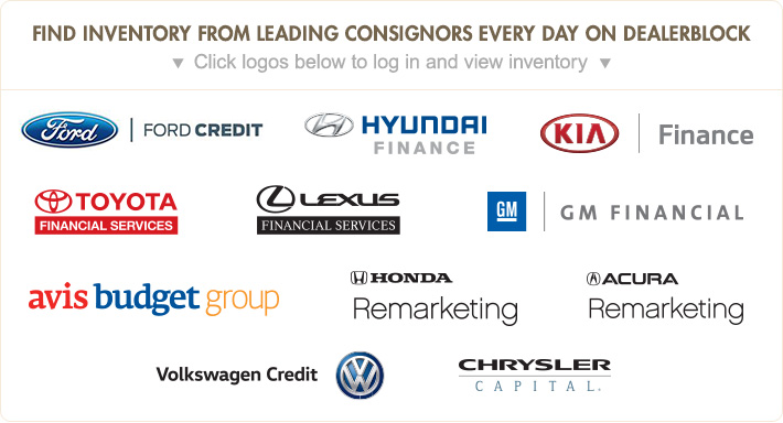 Find inventory from leading consignors every day on DealerBlock - Click logos below to log in and view inventory
